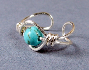 Ear Cuff Sterling Silver Turquoise Dyed Howlite Clip on cartilage earring non pierced choice of bead