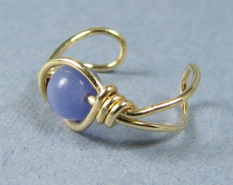 14k Gold Filled Ear Cuff Medium Purple Cats Eye Non Pierced Cartilage Earring Choice of Beads