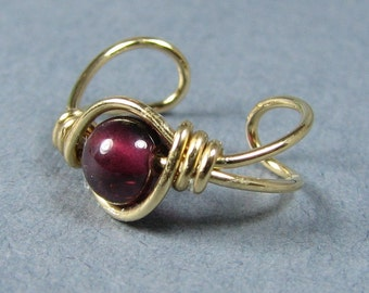Ear Cuff 14k Gold Filled Ear Cuff - Gold Ear Cuff - Garnet Ear Cuff - Garnet Gemstone Non Pierced Cartilage Earring