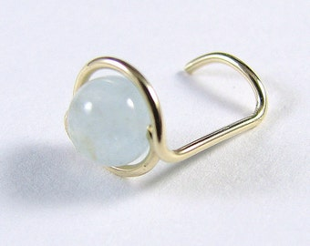 Nose Screw Stud 14K Gold Filled and Aquamarine Single Wrap