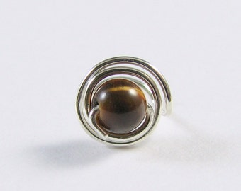 Nose Screw Stud Sterling Silver and Tiger Eye Double Wrap