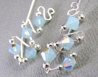 Ear Sweeps Ear Climbers Sterling Silver Swarovski Crystal Pacific Blue Opal vines wrap wedding jewelry