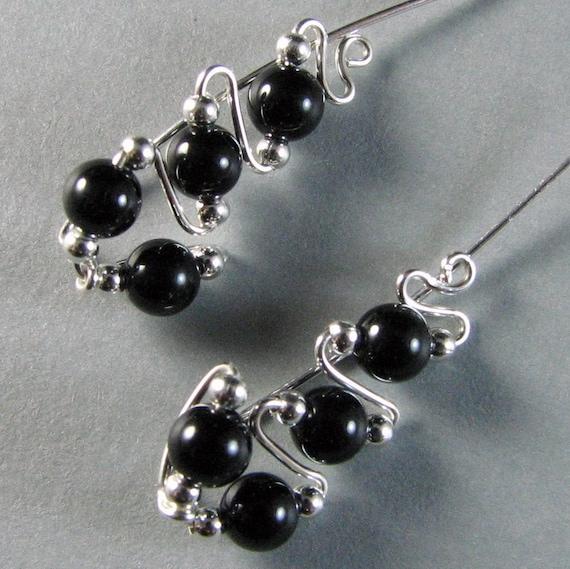 Sterling Silver Ear Climber Ear Sweeps  -  Black Onyx Earrings Stud Earrings Ear cuff, wrap, jacket