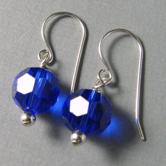 Sterling Silver Cobalt Royal Blue Crystal Dangle Earrings