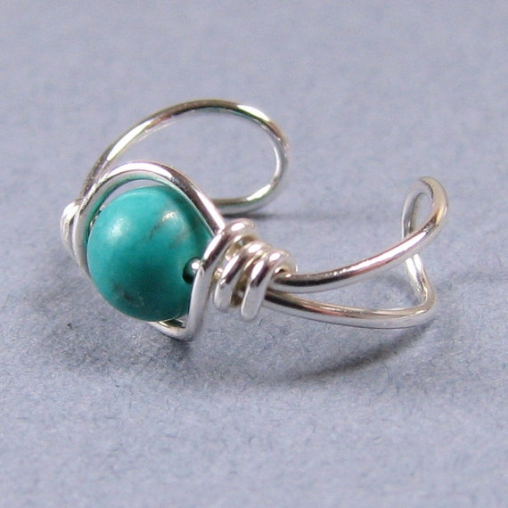 Genuine Teal Turquoise Ear Cuff Sterling Silver Cartilage Earring Non Pierced