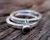 Personalized Custom Inscription and Gemstone Stack Set