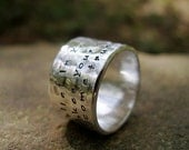 Custom Outer Script Band in Sterling for Him or Her