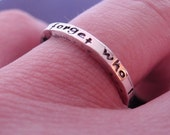 Personalized Custom Inscription or Message Create Your Own Stack Ring in Sterling Silver