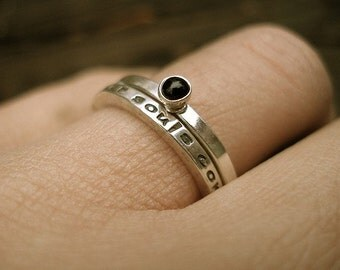 Sterling Silver Stack Rings-Our Souls Come From The Same Place-Message Ring-Black Onyx-Set of Two