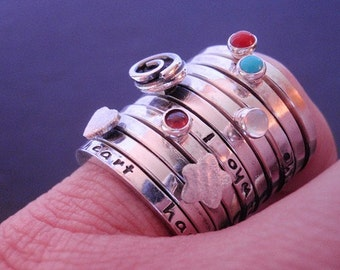 Create Your Own Story-Message or Gemstone Stacking Ring in Sterling Silver