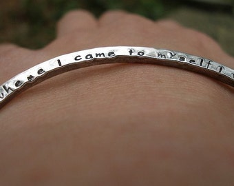 2 Sided Hand Stamped Custom Inscribed Message Hammered Sterling Silver Bangle Bracelet in Lowercase Font