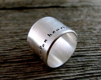 Men's Wide Ring Custom Message Hand Stamped Personalized in Sterling Silver