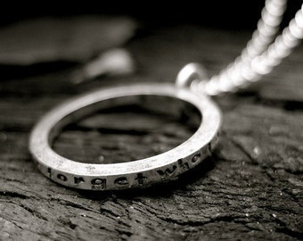 Sterling Silver Personalized Necklace-Hand Stamped Eternity Circle