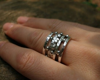 Sterling Hammered and Embellished Stackable Rings-set of Four