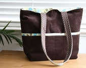 Sweet Baby Mommy Bag Diaper Bag (Brown Corduroy Leaves) READY TO SHIP
