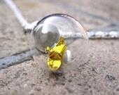 Origami Paper Crane Under Glass Necklace, Gold Crane In A Bottle