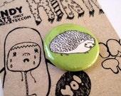 Hedgehog 1 inch pinback button FREE shipping