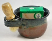 Men's Shave Mug, Gift for Him Wheel Thrown Stoneware Pottery Free Shipping