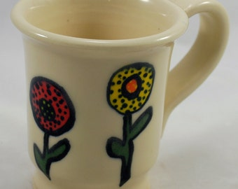 Retro Ceramic Coffee Mug Gift for Her Stoneware Clay Pottery