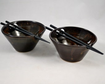 Set of Two Reddish Brown Rice Bowls with Chopstick Rest Wheel Thrown Pottery