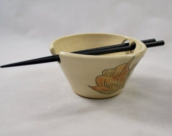 Ceramic Rice Bowl with Carved Flowers and Chopstick Rest Wheel Thrown Pottery