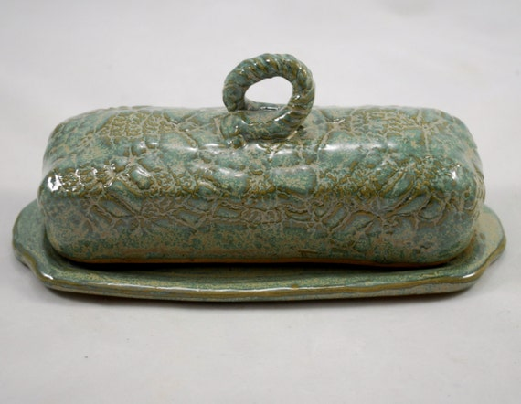Textured Covered Butter Dish in Aqua