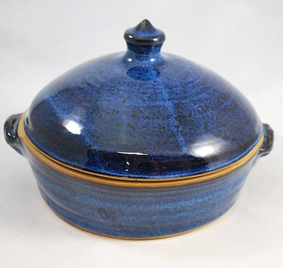 One Quart Casserole Cobalt Blue Stoneware Pottery