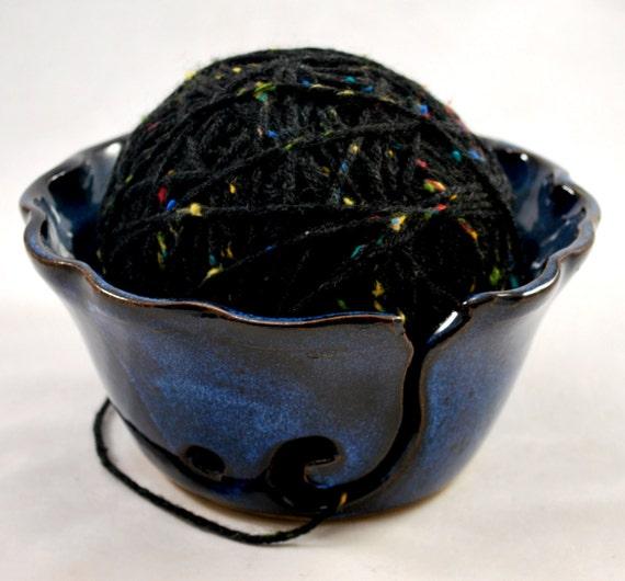 Cobalt Blue Crochet or Knitting Bowl Stoneware Pottery