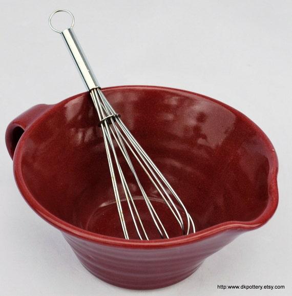 Burgundy Ceramic Mixing Bowl Batter Bowl Wheel Thrown Pottery