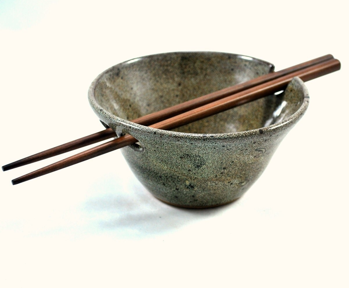 Rice Bowl With Chopstick Rest Wheel Thrown Pottery
