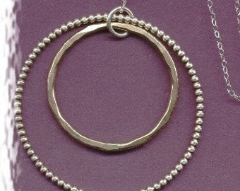 Beaded Sterling Silver and Brass Double Hammered Circle Necklace