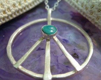 Fine Silver and Turquoise Peace Sign Necklace