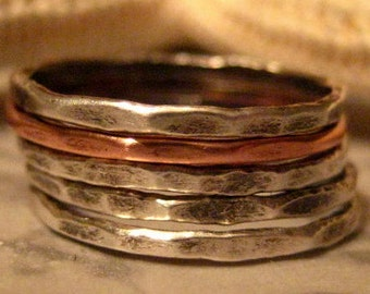 Stacking Rings Set of Five Made to Order
