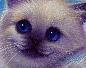 L. Risor Original Oil Painting Himalayan Cat Kitten ACEO ATC