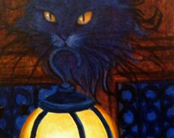 Inspiration to Light the Path Kitty Cat Original Oil Painting Cat ACEO ATC L. Risor