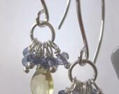 Seaton Earrings - Lemon Quartz, Iolite, Sterling Silver