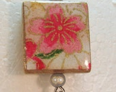 SALE Center Drilled Scrabble Tile Pink Hibiscus with beads free necklace