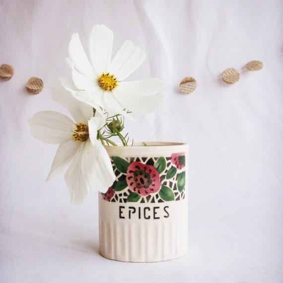 Deco Rose Spice Jar - French Vintage