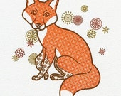 Screen Print (Gocco) - Fox and Flowers  - Limited Edition