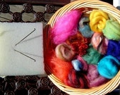 Basic Needle Felting Kit with Instructions, Fiber, Felting Needles and Foam Pad