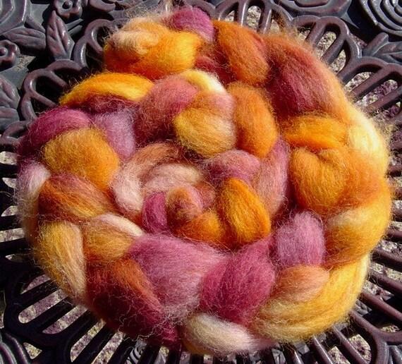 Bronzed Burgundy  HandDyed Soft Pure Alpaca Roving to Spin, Felt or for Fiber Art