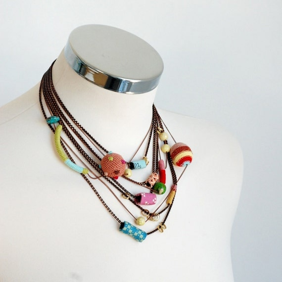 Summer multilayer statement light necklace