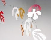 hanging art mobile - Marine in coral colours - large kinetic mobile