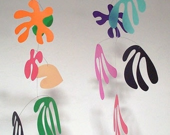 Marine modern hanging mobile- rainbow colours - art mobile (by Pukapuka)