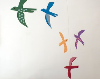 Baby nursery mobile - Birds by Pukapuka - in glorious rainbow colours.