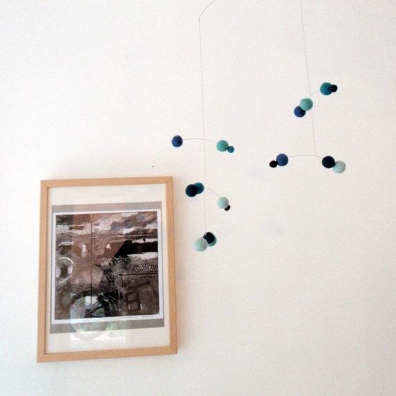 Polka Dot Modern Felt Ball Baby mobile - Blue sky and pastel colours