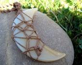 Moondance Macrame Boho/Hippie Hemp Necklace with Fiber Wrapped Natural Agate