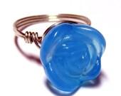 BLUE ROSE - Carved Flower Ring - Sterling Silver