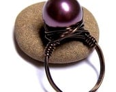 Plum Pearl Ring Swarovski Crystal Bronze Wire Wrapped