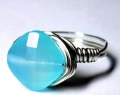 Blue Chalcedony Ring Sterling Silver Wire Wrapped